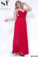 Платье женское вечернее шифоновое Стразы красное Батал
