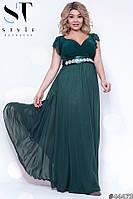 Платье женское вечернее шифоновое с Крылышками бутылочное Батал
