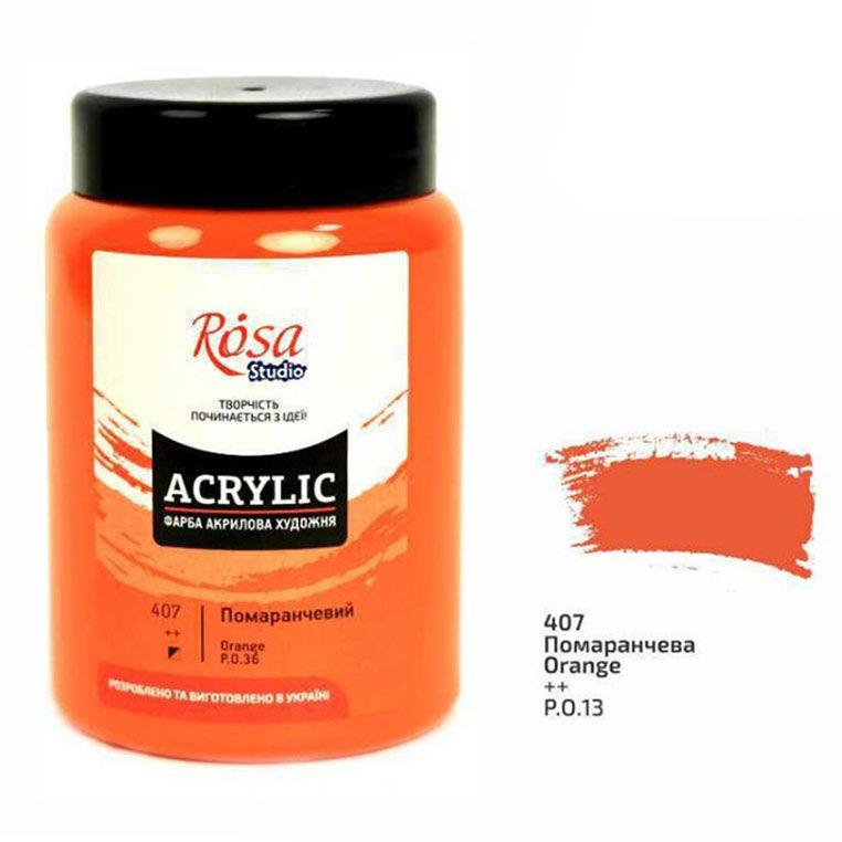 Краска акриловая  Rosa Studio 400мл 3224194**_оранжевый (407)