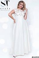 Платье женское вечернее Вивьен белое Батал