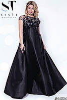Платье женское вечернее Вивьен черное Батал