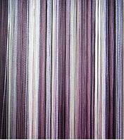 Шторы нити Лапша Радуга №1+12+205 (белый +сиреневый+фиолетовый)