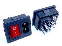 Штекер сетевой 2pin монтажный с кнопкой