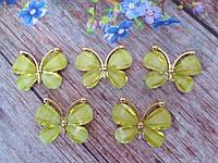"""Металевий клейовий декор """"Метелик"""", 30х23 мм, колір салатовий, 1 шт"""