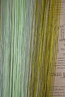 Шторы нити Лапша Радуга №7+15 +19 (125) (серебряный+салатовый+оливковый)