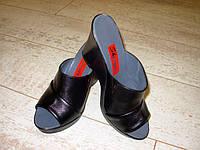 Б475 - Женские шлепанцы черные натуральная кожа