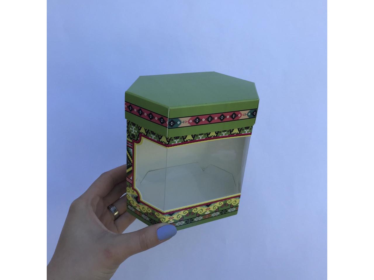 Коробка из тонкого картона шестигранная мала с окошком , под орхидею