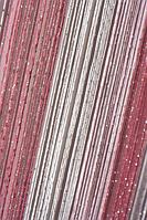 Шторы нити Лапша Радуга №1+5+6 (белый +розовый+фрез)
