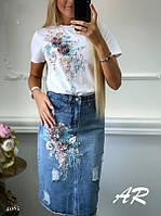 Стильный женский костюм футболка и джинсовая юбка, фото 1