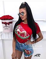 Стильный женский костюм футболка и джинсовые шорты, фото 1