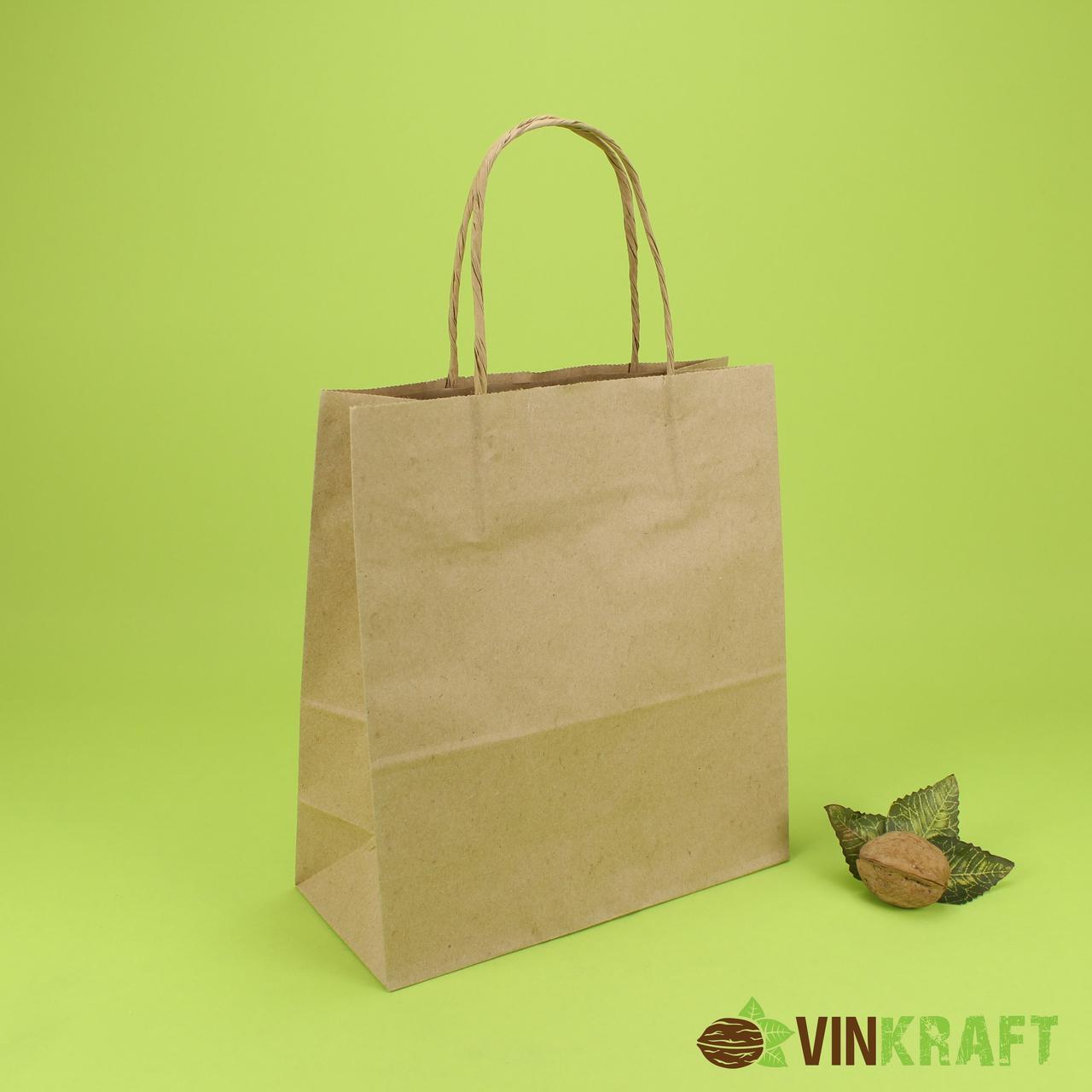 Паперовий пакет з ручками 200*90*220 (70 г/м2) (2 кг), крафт