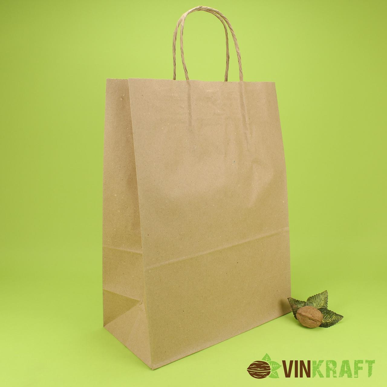Паперовий пакет з ручками 260*130*350 (70 г/м2) (5 кг), крафт