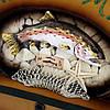 """Большая вешалка для одежды 05S341B из дерева """"Снасти рыбака и улов"""", фото 3"""