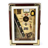 Настенная ключница из дерева с часами в морском стиле S35625A-Ym