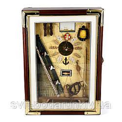 Настенная ключница часы деревянная в морском стиле