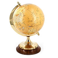 Глобус сувенирный на латунной ножке и деревянной подставке S3653