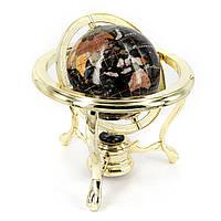Старинный глобус из полудрагоценных камней на золотистых ножках CLS110