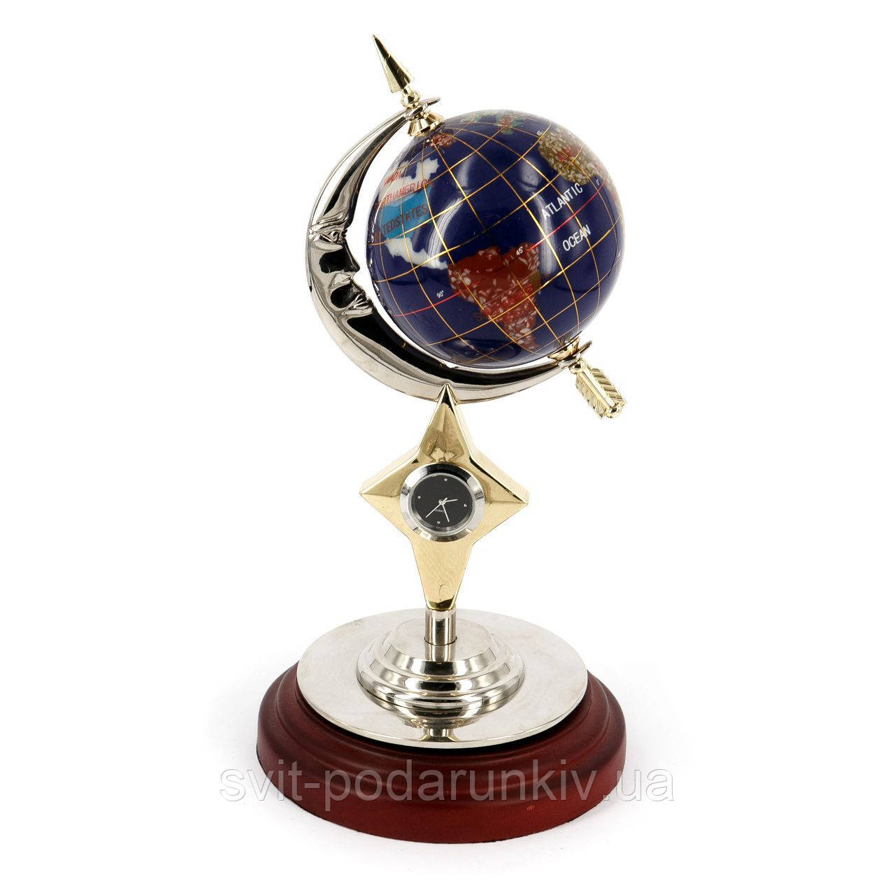 Глобус из камня подарочный с часами CAS368