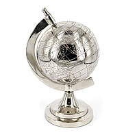 Глобус сувенир хромированный металлический на серебристой подставке S1513