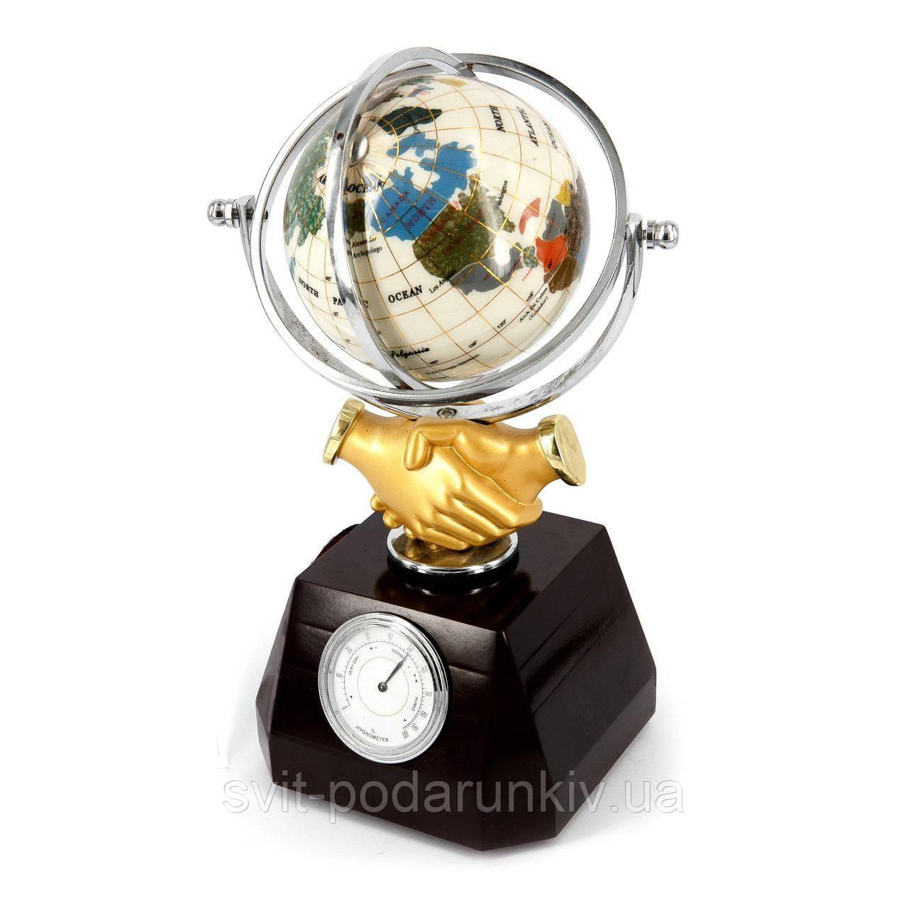 """Глобус-часы с термометром и гигрометром """"Рукопожатие"""" XLS616А"""