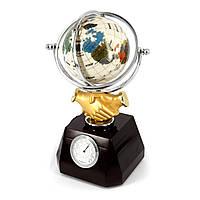 """Глобус-часы с термометром и гигрометром на подставке """"Рукопожатие"""" XLS616А"""