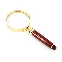 Лупа карманная маленькая с деревянной ручкой и золотистым обрамлением LS101