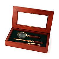 Настольный набор руководителя: подарочная ручка, нож для конвертов и лупа Albero Ode SD73101BLG