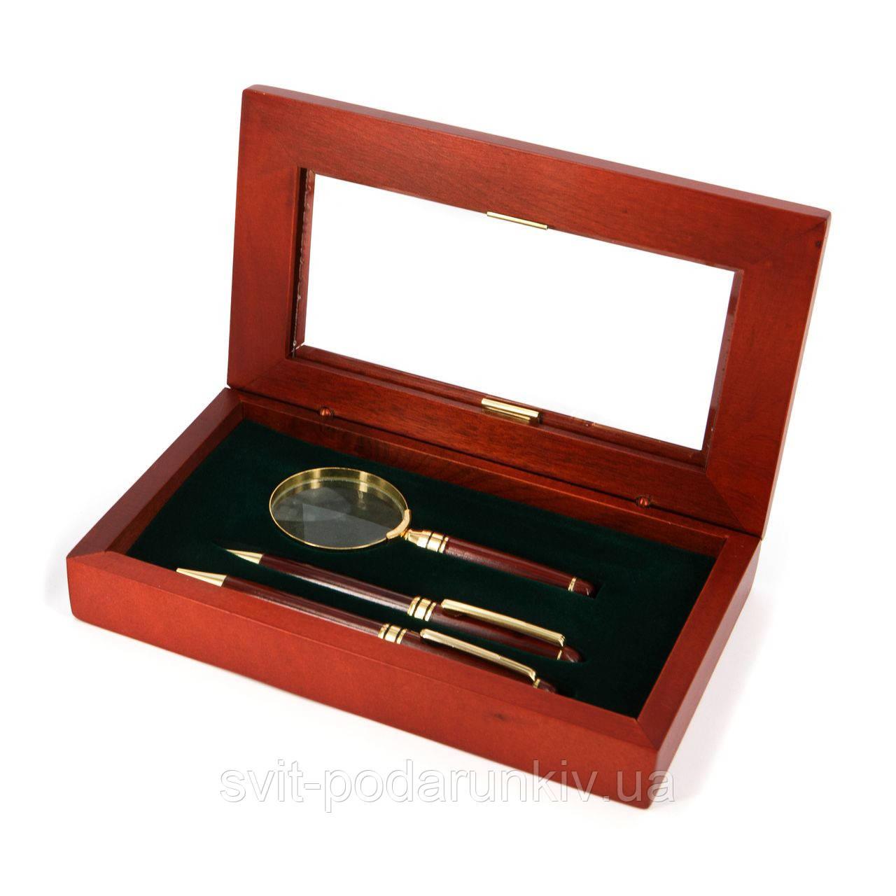 Набор для руководителя подарочный: стильная ручка, механический карандаш и увеличительная линза 73S101BMG