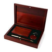 Офисный настольный набор: подарочная шариковая ручка, визитница и брелок Albero Ode S83-07