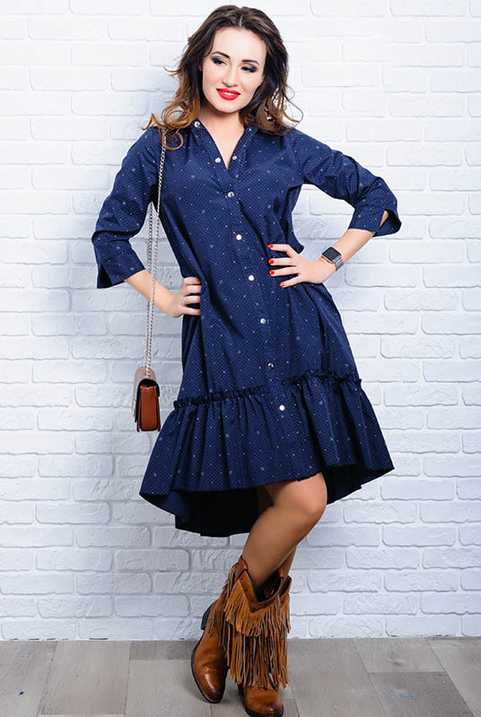 Синее платье рубашка Флора