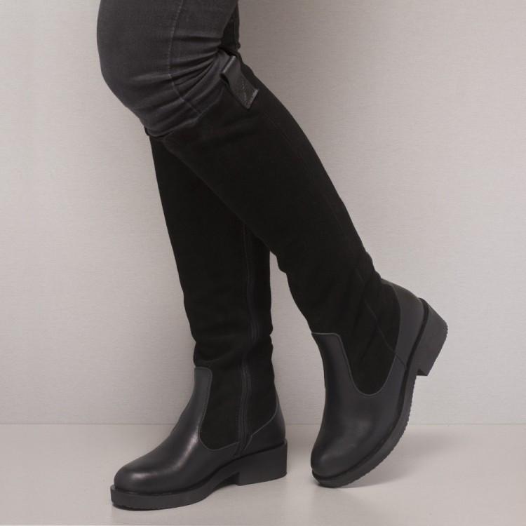 Сапоги замшевые с кожаным низом 861-30