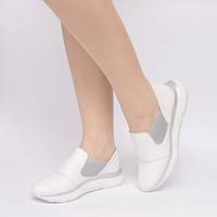 Слипоны белые кожаные 903-00
