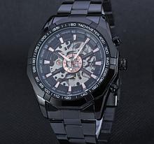 Механические мужские часы Winner Skeleton чёрные качество превыше всего