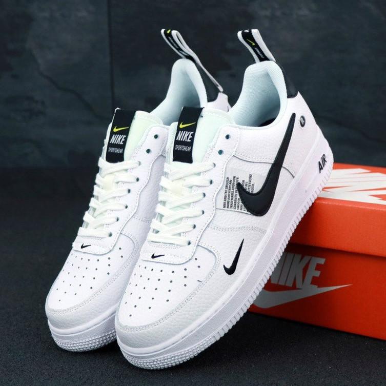eb1708ff Мужские Кроссовки Nike Air Force 1 TM White Black Low, найк аир форс Белые /