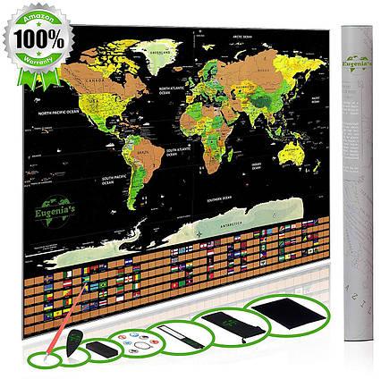 Скретч- карта World Travel в подарочном тубусе с набором аксессуаров, фото 2