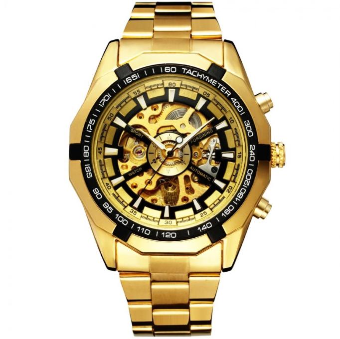 Механические мужские часы Winner Skeleton желтые качество превыше всего