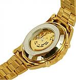 Механические мужские часы Winner Skeleton желтые качество превыше всего, фото 2