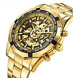 Механические мужские часы Winner Skeleton желтые качество превыше всего, фото 3