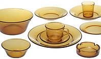 Обеденный набор Amber Lime Lite 52 предмета янтарное стекло