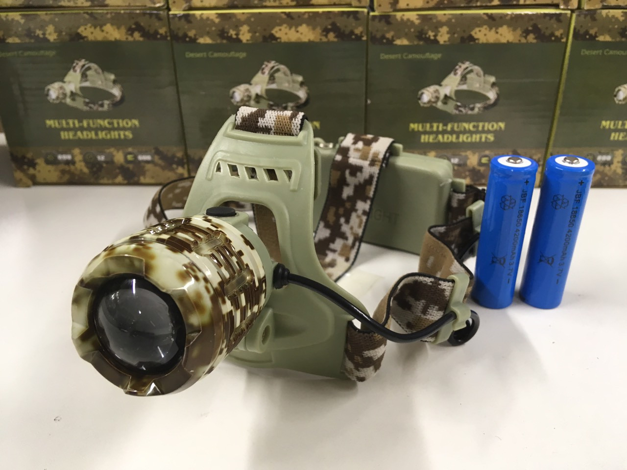 "Фонарь налобный X-Balog WD024, аккумуляторный, ""камуфляж"""
