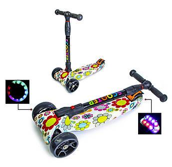 Четырех колесный самокат scooter smart Цветочек