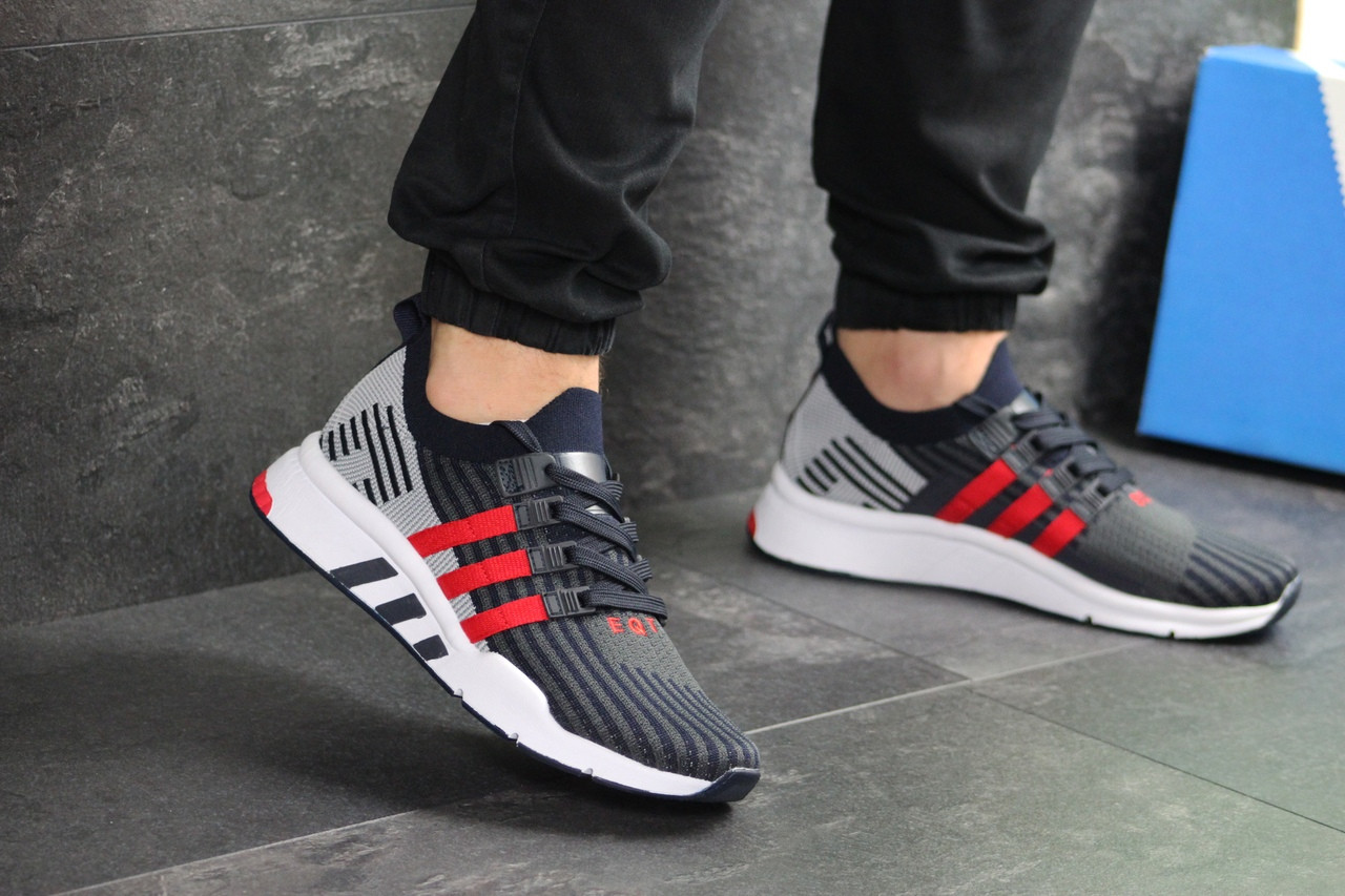 Мужские кроссовки Adidas Equipment adv 91-18 (темно-синие с серым и красным)