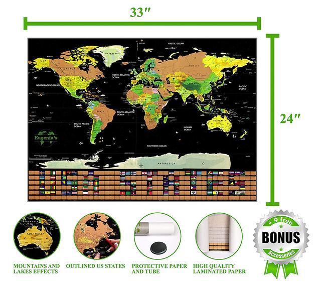 Скретч- карта World Travel в подарочном тубусе с набором аксессуаров