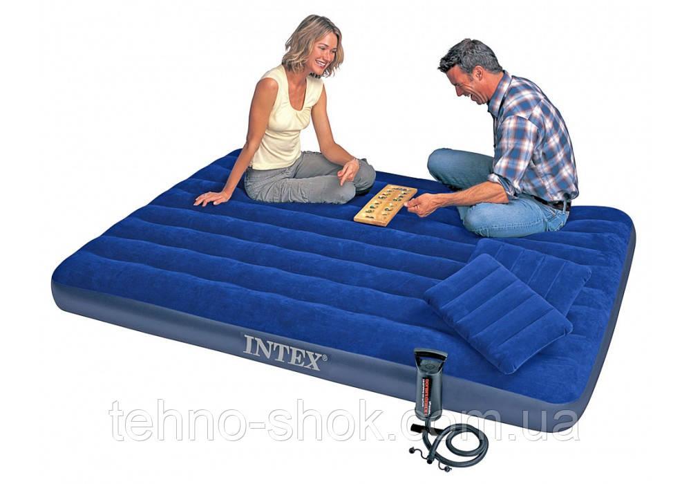 Надувной матрас Intex 64765 с насосом и подушками  203х152х22 см (68765)