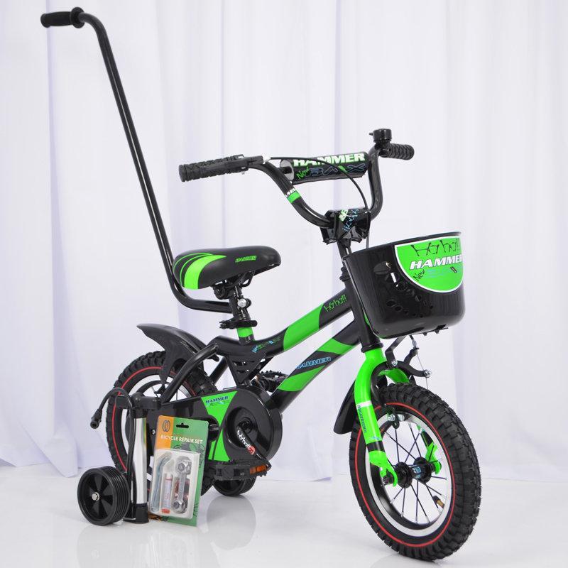 """Зеленый детский велосипед Hammer 12"""" со съемными колесами  от 2-х лет"""