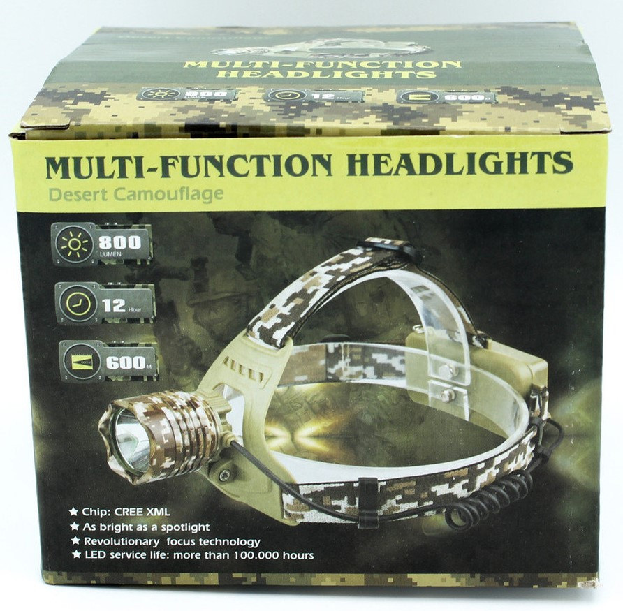 "Налобный фонарь X-Balog WD024, аккумуляторный, ""камуфляж"""