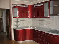 Красная угловая кухня с гнутыми фасадами Киев, фото 1