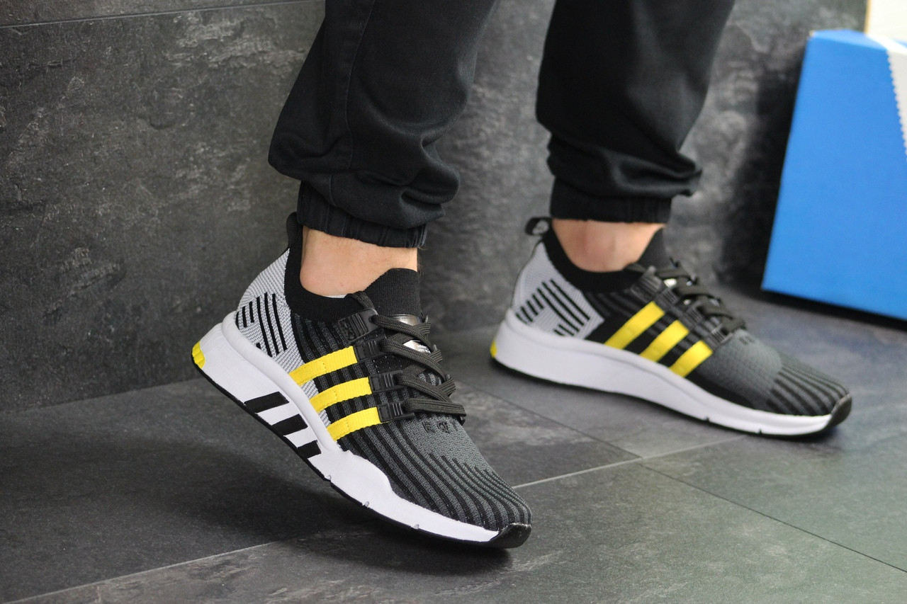 Мужские кроссовки Adidas Equipment adv 91-18 (черно-серые с желтым)