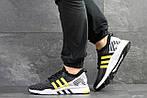 Мужские кроссовки Adidas Equipment adv 91-18 (черно-серые с желтым), фото 6