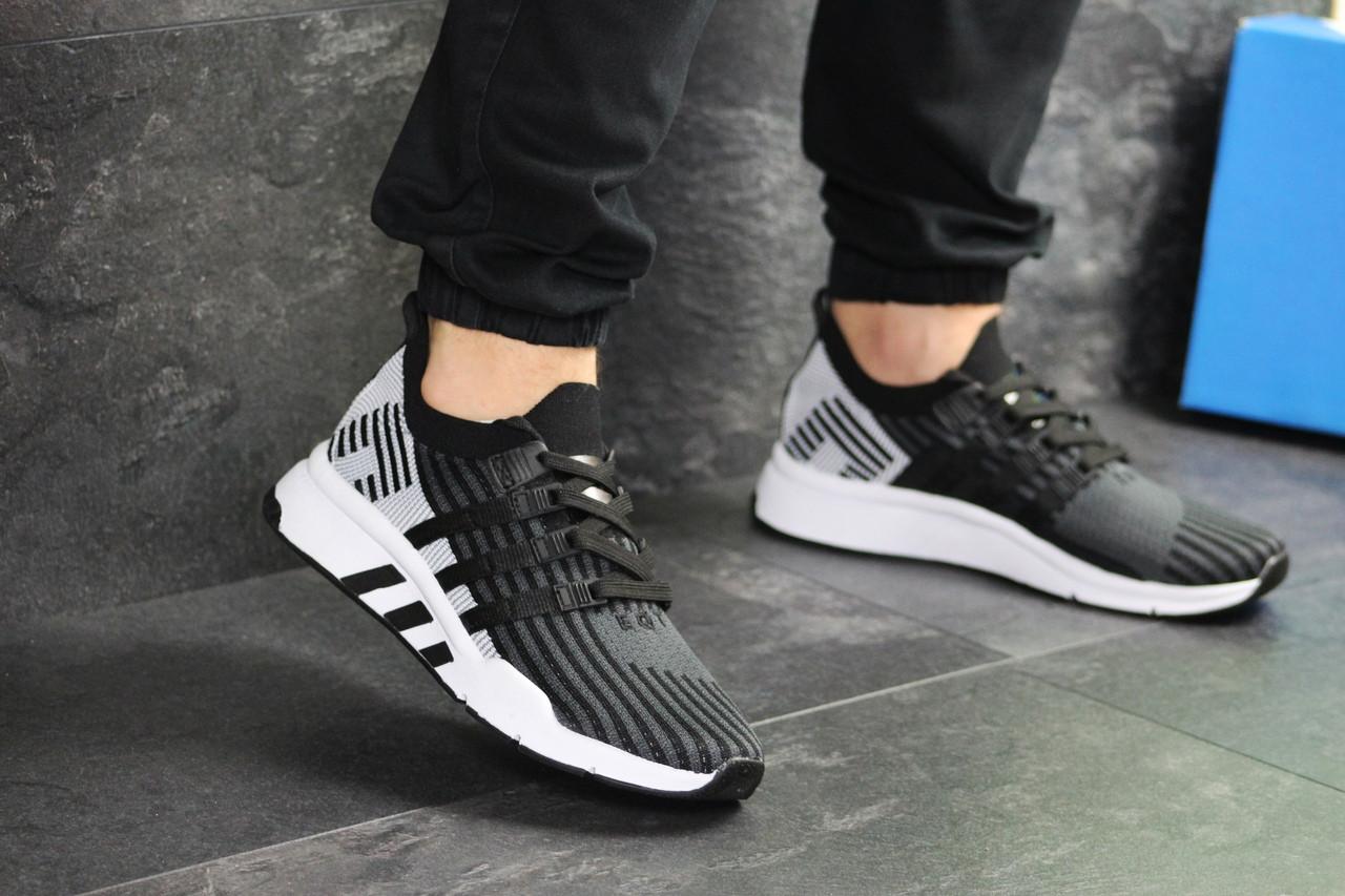 Мужские кроссовки Adidas Equipment adv 91-18 (черно-серые с белым)